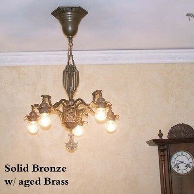 243b Vintage 1920's Ceiling Light lamp fixture Bronze chandelier art nouveau