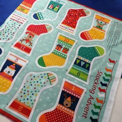 Novelty Christmas Mini Stocking Advent Panel Advent Calendar by Makower Fabrics