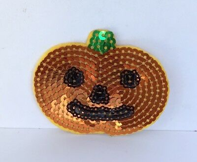 Halloween Pumpkin Sequin Embroidered Appliqué Patch Sew Or Iron On Novelty