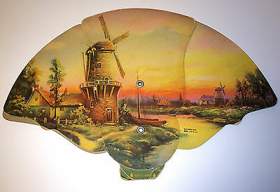 Rare Antique Phillips Funeral Home Windmill Advertising Fan Old 5 Digit Phone #