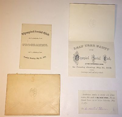 Rare Antique Victorian Leap Year Party Lot! Olympiad Social Club Lot! Program!