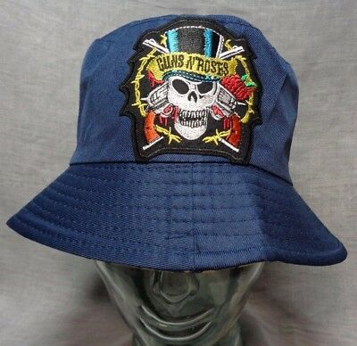 guns n roses bucket hat fishing cap sun music festival axl slash med/large skull