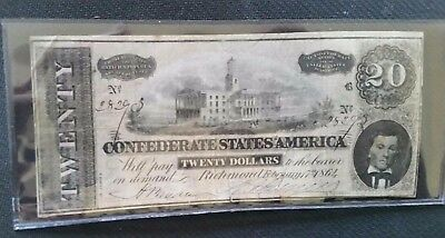 1864 Confederate Currency Twenty Dollars