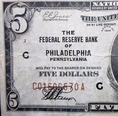 1929 $5 Federal Reserve National Bank Note ✪ Philadelphia ✪ Ch-Vf Pa 70◢Trusted◣