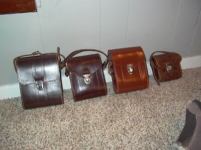 Set of 4 (four)  Used LEATHER BINOCULAR CASES  Very Good to Excellent Condition