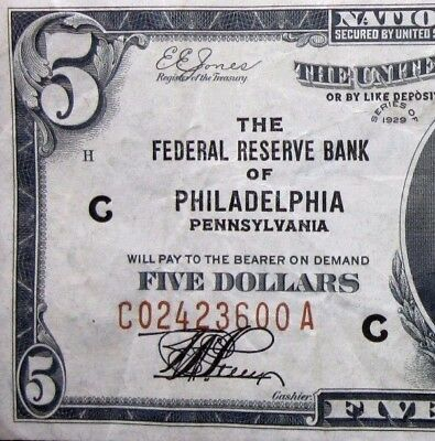 1929 $5 Federal Reserve National Bank Note ✪ Philadelphia ✪ Ch-Vf Pa 00◢Trusted◣