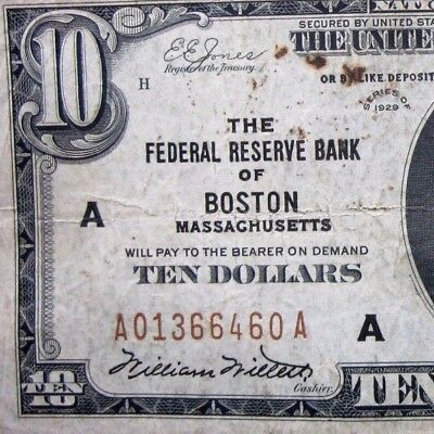 1929 $10 Federal Reserve National Bank Note ✪ Boston ✪ Vf Ma 460 Very◢Trusted◣