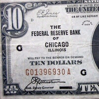 1929 $10 Federal Reserve National Bank Note ✪ Chicago ✪ Vf Il 930 G ◢Trusted◣