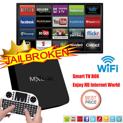 MXQ 4K Smart HD TV BOX Android 8G WiFi Media Player XBMC DLN Amlogic Keyboard FR
