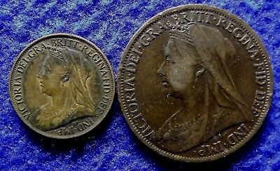 1901 GREAT BRITAIN Penny and Farthing, 2 Queen Victoria Coins (#1447)