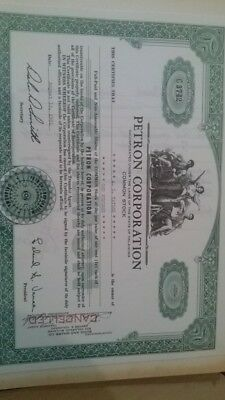 Petron Corporation OK 1961 Stock Certificate