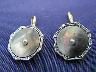 OLD PAIR LARTER 14k GOLD TUXEDO COLLAR STUDS DARK MOTHER OF PEARL & SEED PEARL