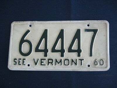 Vermont 1960  License Plate Number 64447, Green On White, See Vermont