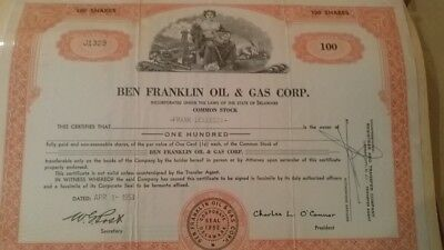 Ben Franklin Oil & Gas Corp 1953 Stock Certificate
