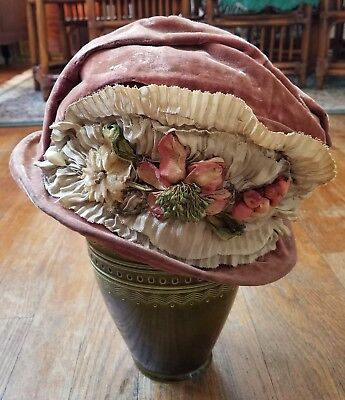 1920s Velvet Flapper Cloche with Silk Ribbon Flowers + Hatpin Antique Vintage