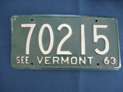 Vermont 1963 License Plate Number 70215,white On Green, See Vermont