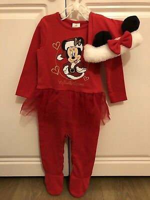 Baby Girl Disney Christmas Outfit With Matching Hat 6-9 Months BNWT
