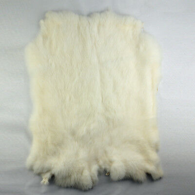 lieomo Genuine Rabbit Fur Skin Color Naturally Tanned for Crafts - white