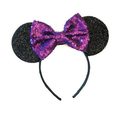 Disney Inspired Minnie Mouse Purple Sequin Bow Headband Ears/Purple Minnie Ears