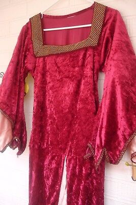 Renaissance Costume Medieval Peasant Wench Red Pink Dress Women's Large