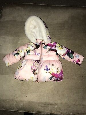 baby girls ted baker coat 9 to 12 months exellent condition stunning coat