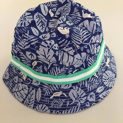 MINI BODEN AWESOME Boy's BLUE MONKEY Bucket Hat, Small 5-8 years.SO COOL!! NEW!