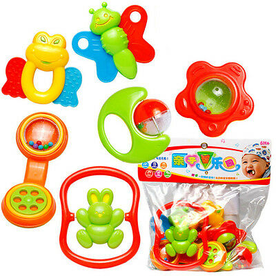 6Pcs Plastic Baby Hand Shake Bell Ring Rattles toys Baby Educational Toys FadFT