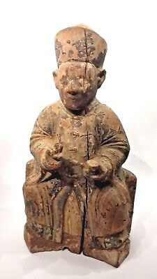 Antique Wooden Carved Temple/Shrine Figure Late Ming/Early Qing 17th Century