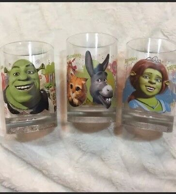 Shrek The Third Vintage McDonald's Three Piece Glasses Set