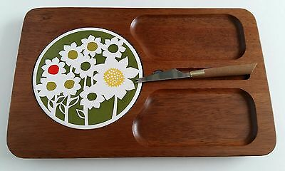 Retro Imperial Cheese And Cracker Tray Floral Green Teak Mid Century With Knife