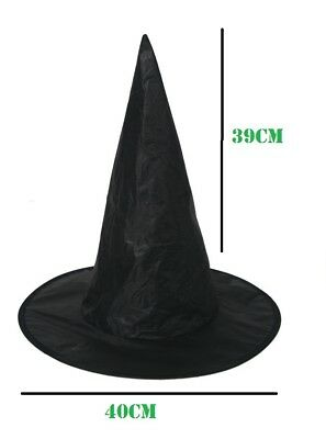 Adult Childrens Black Witch Hat Ladies Halloween Fancy Dress Witches Accessory