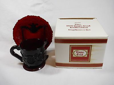 Avon 1876 Cape Cod Ruby Red Glass CUP AND SAUCER SET, w/ Original Box