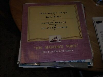 LP/ SHAKESPEARE SONGS AND LUTE SOLOS / ALFRED DELLER , DESMOND DUPRE (1950s ORIG