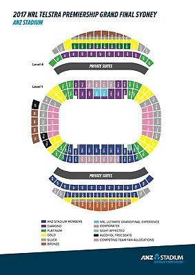 NRL Grand Final x2 Gold Members Diamond Tickets Lower Level Aisle 134