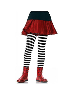 Enchanted Costumes Leg Avenue Girls Black White Striped Tights M, L, XL NEW