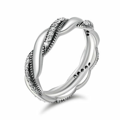 925 Sterling Silver Ribbon Of Love Clear CZ Infinite Love Women Band Ring NEW