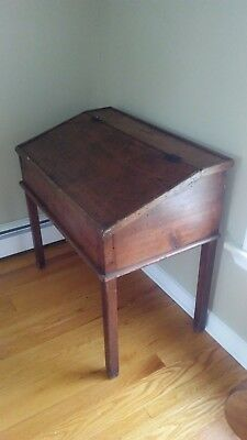 Antique English Oak Barley Twist Slant Front Lift Top Office Library Desk Table