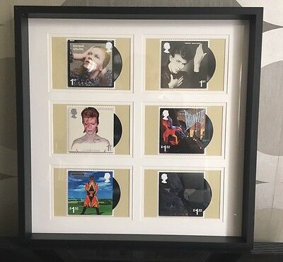 6 David Bowie Postcards  -  Black Framed Royal Mail Stamp Artwork