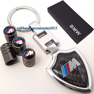 BMW M Sport key ring + Tyre valve dust caps with box 1 3 5 M3 M5 X3 X5