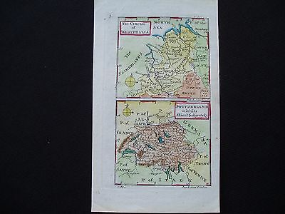 1742 Cowley Map Switzerland and Western Germany Antique 275 Yrs Old