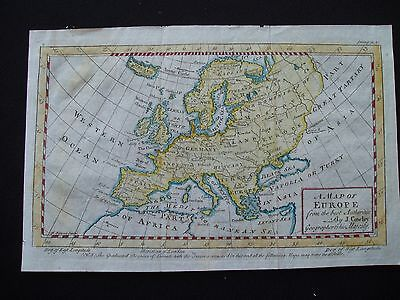 1742 Cowley Map Europe Antique 275 Yrs Old