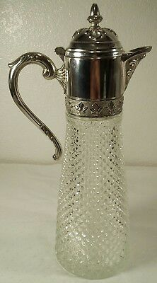 "Wine Pitcher Decanter 12 1/4"" Glass Diamond Point Silver Lid Handle"