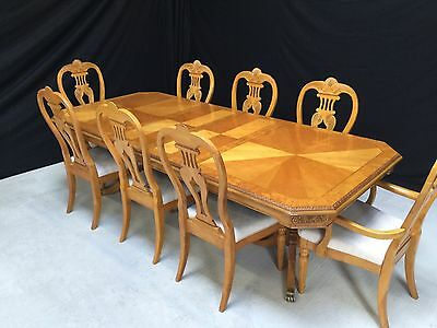 Designer Grand Regency Style Maple & Ash Dining Set French Polished