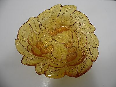 Vintage Carnival Berry Bowl Dish Indiana Glass Marigold Loganberry Amber Gold