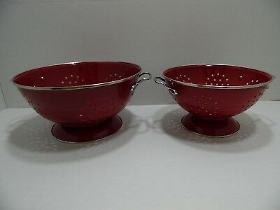 Red Enameled Metal Colander Strainer Sieve Set of 2 Heavy Sturdy with Handles