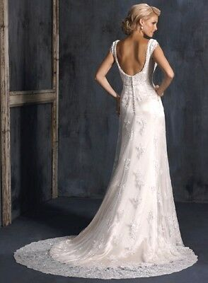 💕 Maggie Sottero  💕 $1799 Divinity 12 Ivory Lace Sheath Low Back Wedding Dress