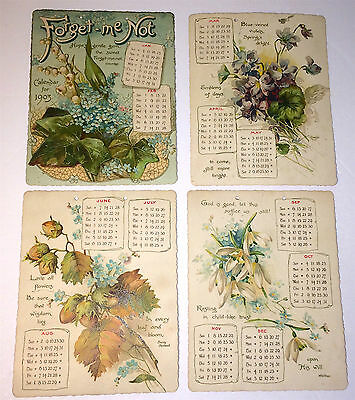 Antique Floral Lithograph, Forget-Me Not C1903 Complete Calendar! Inscribed Xmas