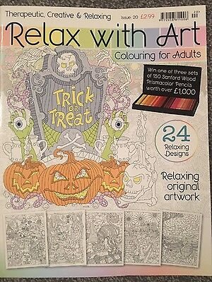 relax with art colouring book halloween edition