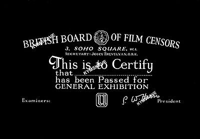 1950's BRITISH FILM CENSOR CERTIFICATE, FOR YOUR OWN MOVIE - CINE EPIC 8mm, 16mm