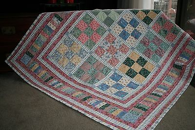 """Hand Made Quilt """"FLORAL FANTASY"""" Design by Quilt-Addicts 65"""" x 56"""""""